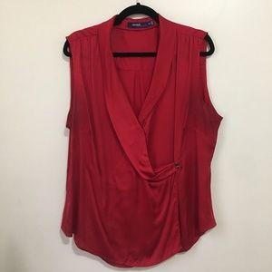 ELOQUII surplice sleeveless wrap front top AW17